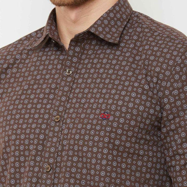 Men Coffee Regular Fit Printed Casual Shirt - Donzell
