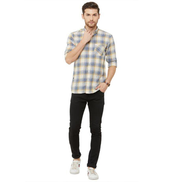 Men Yellow & Blue Regular Fit Checked Casual Shirt - Donzell