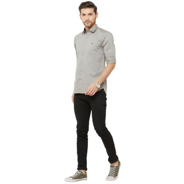 Men Grey Slim Fit Plain Casual Shirt - Donzell