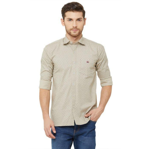 Men Beige Slim Fit Printed Casual Shirt - Donzell