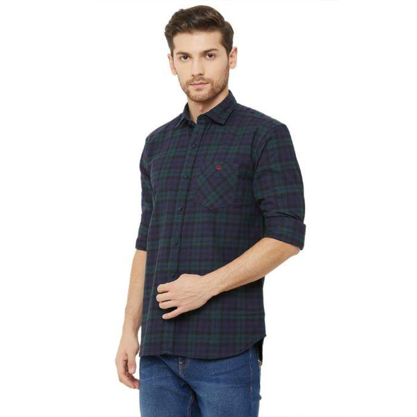 Men Blue & Green Regular Fit Checked Casual Shirt - Donzell