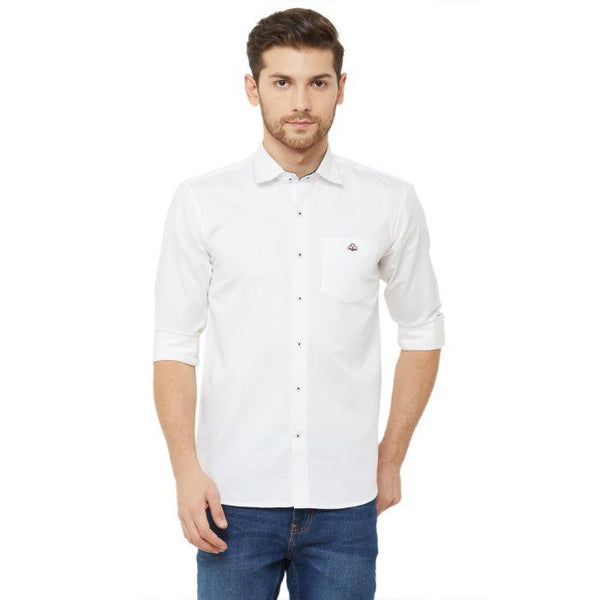 Men White Slim Fit Plain Casual Shirt - Donzell