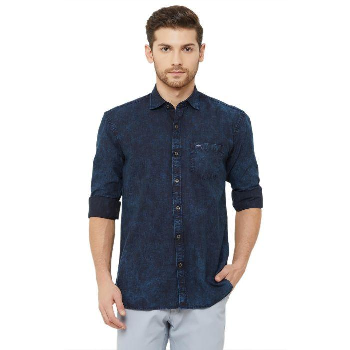 Men Dark Blue Regular Fit Solid Denim Casual Shirt - Donzell