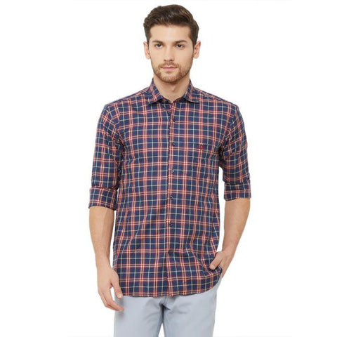 Men Navy Blue Regular Fit Checked Casual Shirt - Donzell