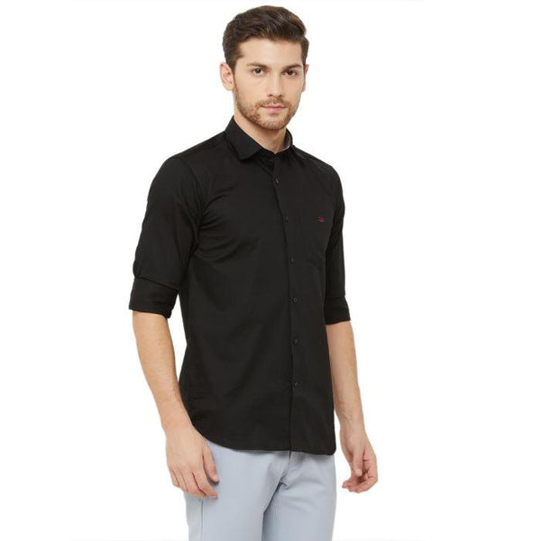 Men Black Slim Fit Plain Casual Shirt - Donzell