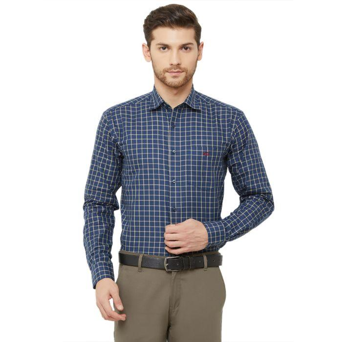 Men Blue Regular Fit Checked Formal Shirt - Donzell