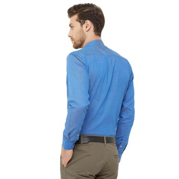 Men Blue Solid Regular Fir Formal Shirt - Donzell
