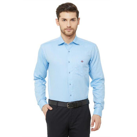 Men Light Blue Regular Fit Dotted Formal Shirt - Donzell