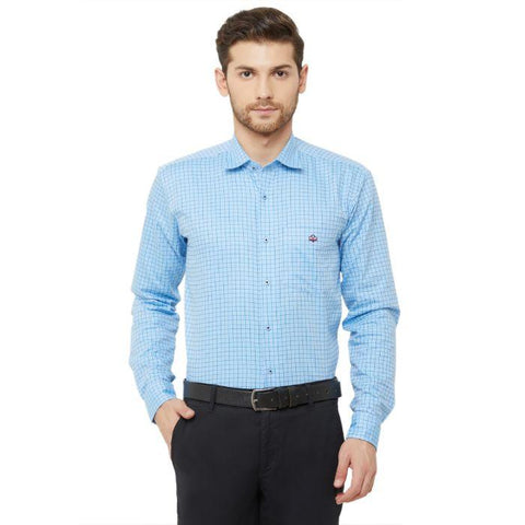Men Light Blue Regular Fit Checked Formal Shirt - Donzell