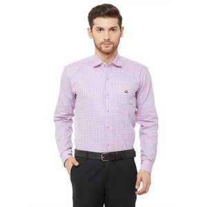 Men Pink Regular Fit Checked Formal Shirt - Donzell