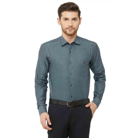 Men Green Regular Fit Dotted Formal Shirt - Donzell