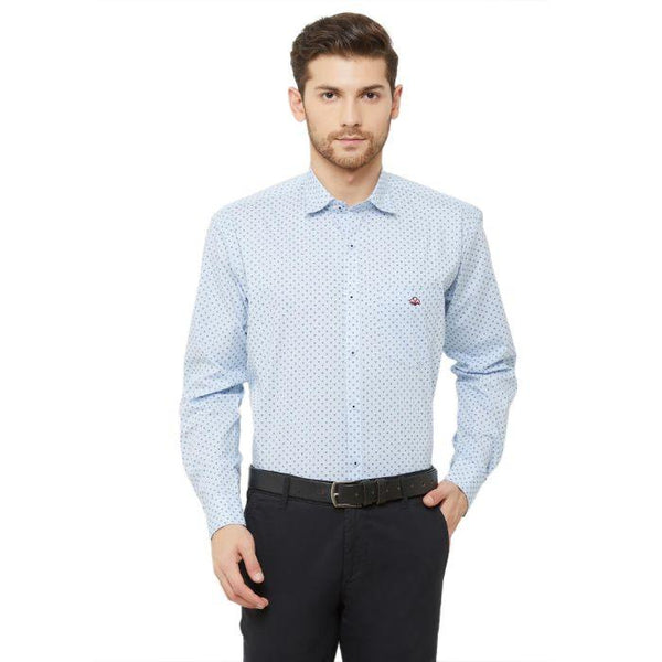 Men Sky Blue Slim Fit Printed Casual Shirt - Donzell