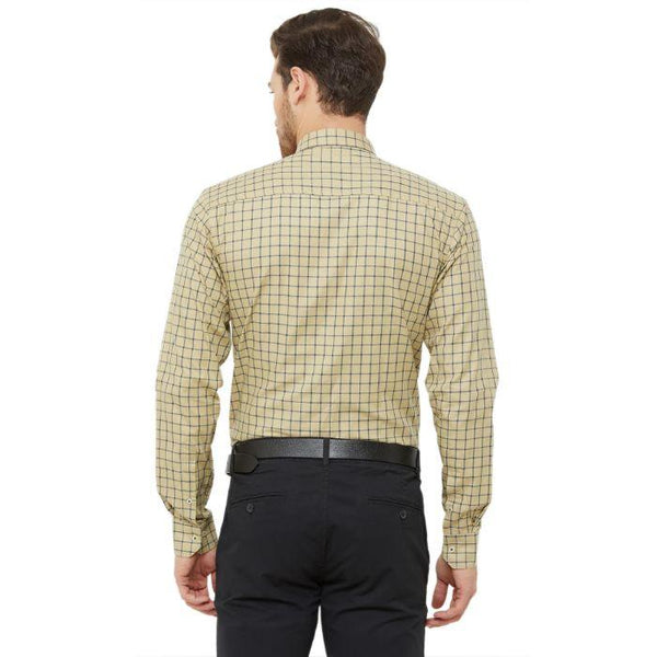 Men Beige Regular Fit Checked Formal Shirt - Donzell