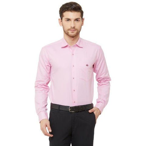 Men Light Pink Regular Fit Dotted Formal Shirt - Donzell