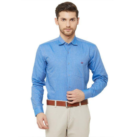 Men Light Blue Regular Fit Dobby Print Formal Shirt - Donzell
