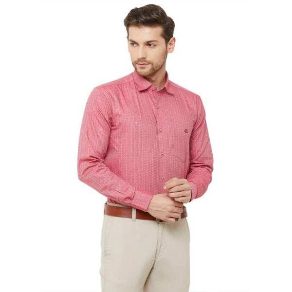 Men Pink Regular Fit Dobby Print Formal Shirt - Donzell