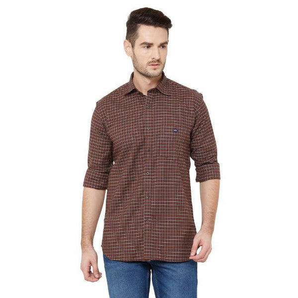 Men Coffee Cotton Checked Regular Fit Cotton Shirt - Donzell