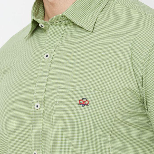 Men Green Cotton checked Regular Fit Casual Shirt - Donzell
