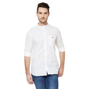 Men White Printed Cotton Chinese Collar Casual Shirt - Donzell
