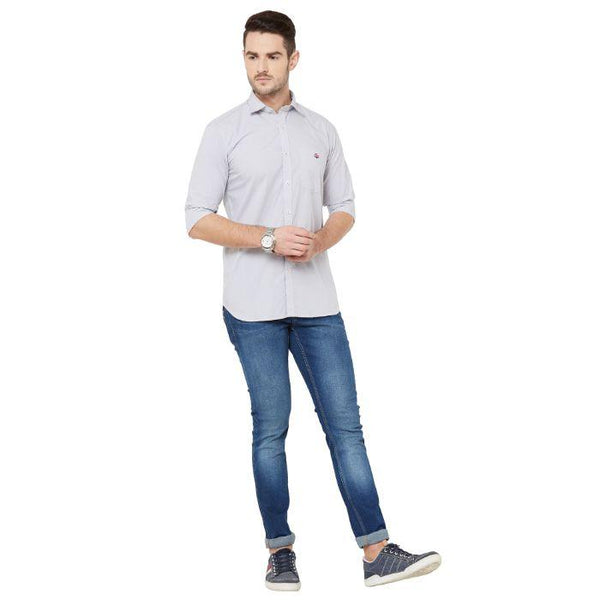 Men White & Grey Cotton Checked regular Fit Casual Shirt - Donzell