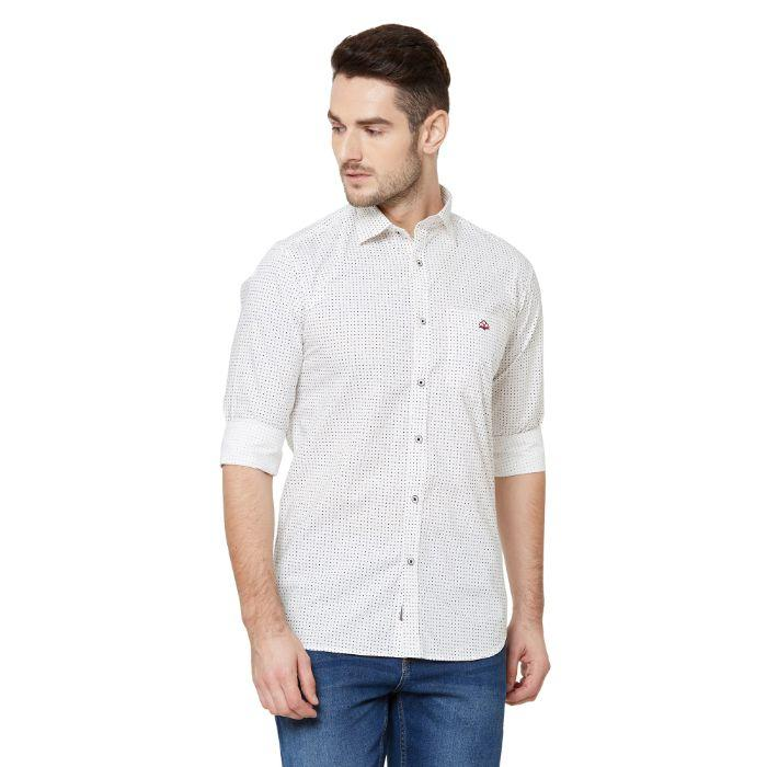 Men White Cotton Regular Fit Dotted Print Casual Shirt - Donzell