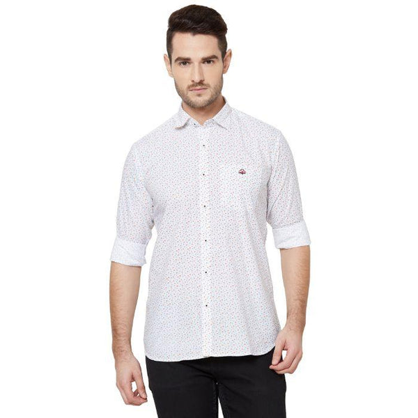 Men White cotton Regular Fit Printed Casual Shirt - Donzell