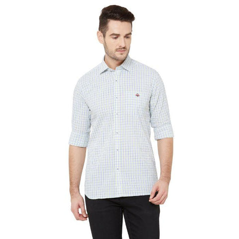 Men White Cotton Checked Regular Fit Casual Shirt - Donzell
