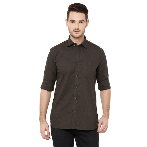 Men Coffee Cotton Regular Fit Solid Casual Shirt - Donzell