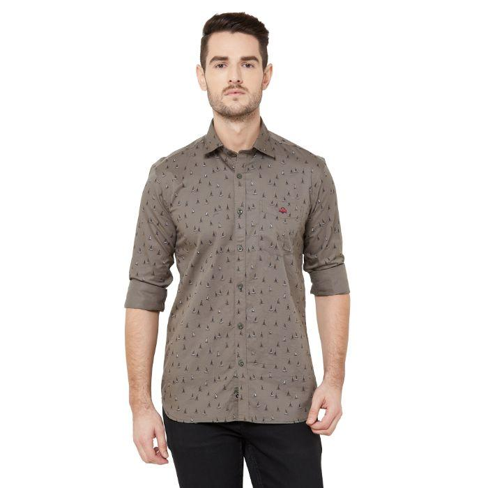 Men Dark Grey Cotton Printed Regular Fit Casual Shirt - Donzell