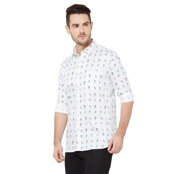Men White Regular Fit Cotton Printed Casual Shirt - Donzell