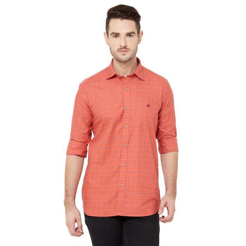 Men Red Cotton Checked Regular Fit Casual Shirt - Donzell