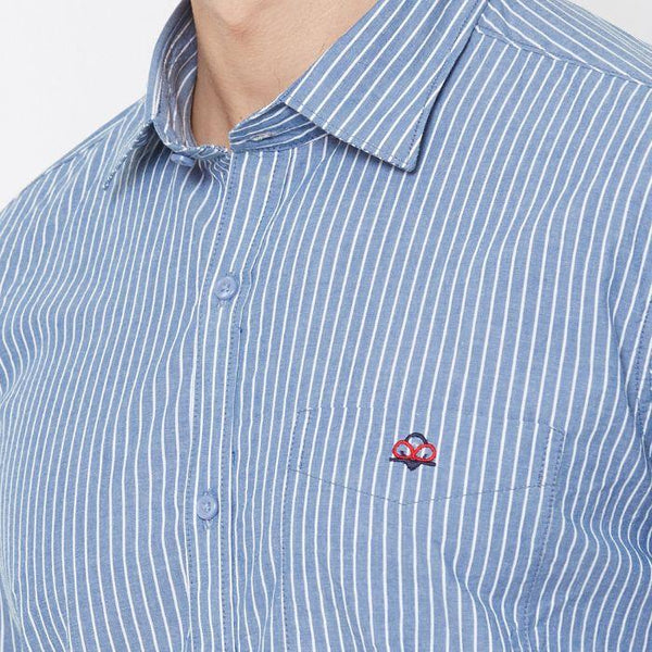 Men Grey Cotton Striped Regular Fit Casual Shirt - Donzell
