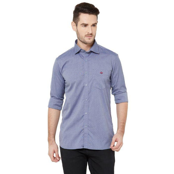 Men Blue Comfort Regular Fit Printed Casual Shirt - Donzell