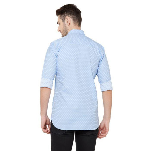 Men Sky Blue Printed cotton Regular Fit Casual Shirt - Donzell