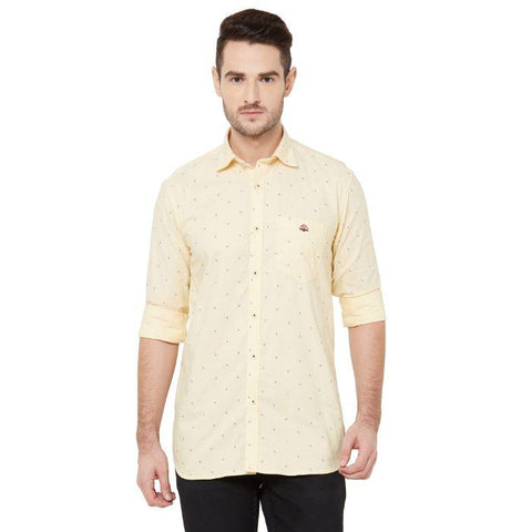 Men Yellow Cotton Regular Fit Printed Casual Shirt - Donzell
