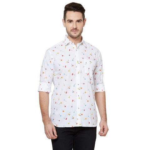 Men White Regular Fit Printed Cotton Casual Shirt - Donzell