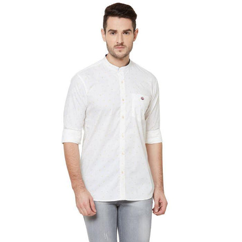 Men White Cotton Printed Regular Fit Casual Shirt - Donzell