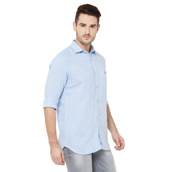 Men Sky Blue Cotton Striped Regular Fit Casual Shirt - Donzell