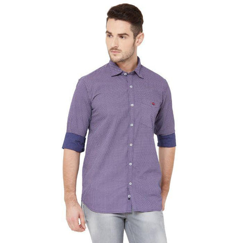 Men Purple & White Cotton Printed Regular Fit Casual Shirt - Donzell