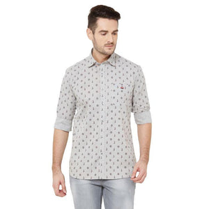 Men Grey Cotton Printed Regular Fit Casual Shirt - Donzell