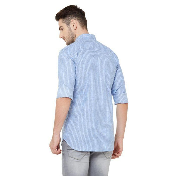 Men Sky Blue Cotton Printed Regular Fit Casual Shirt - Donzell
