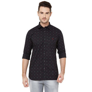 Men Black Cotton Regular Fit Printed Casual Shirt - Donzell
