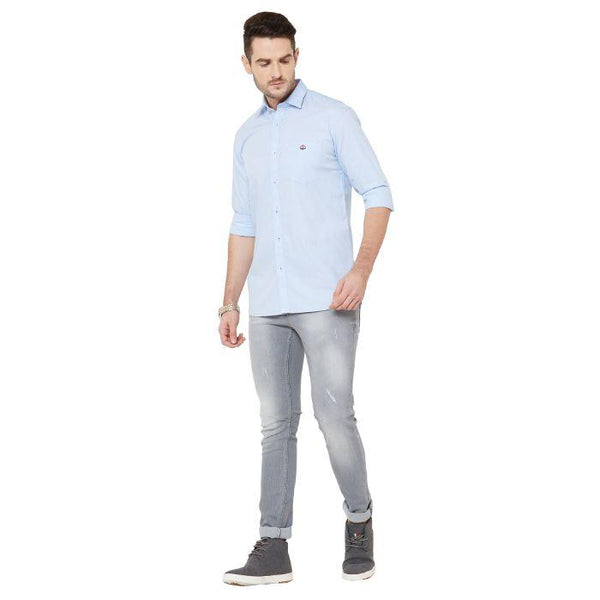 Men Sky Blue Cotton Cheched Regular Fit Casual Shirt - Donzell