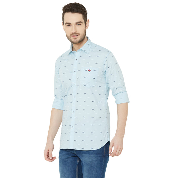 Men Sky Blue Regular Fit Printed Casual Shirt