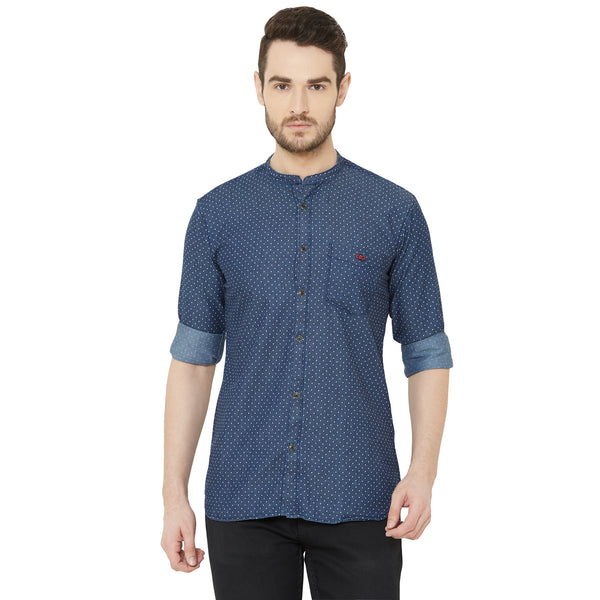 Men Blue Regular Fit Dotted Print Denim Casual Shirt