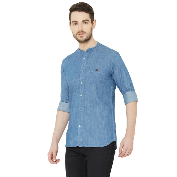 Men Light Blue Solid Denim Casual Shirt