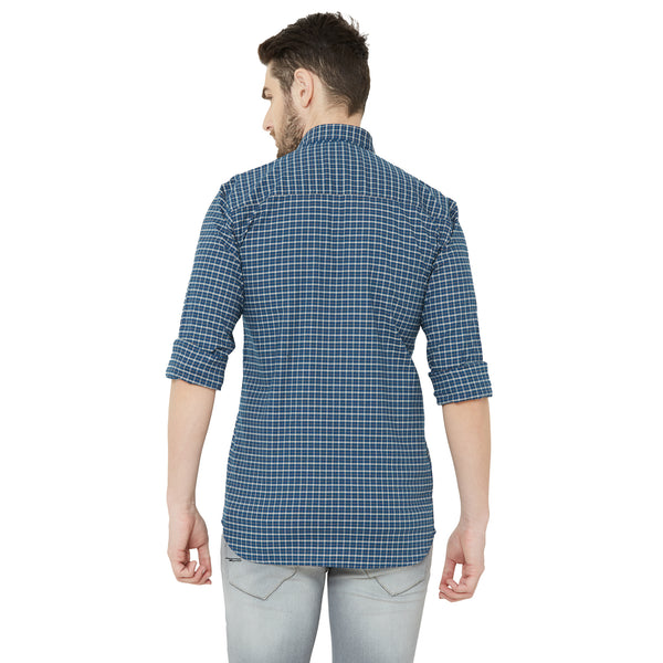 Men Navy Blue Comfort Regular Fit Checked Casual Shirt