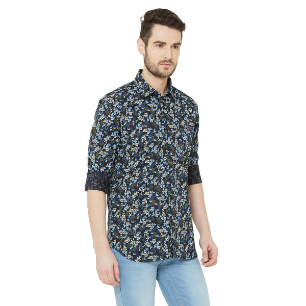 Men Navy Blue Fregular Fit Floral Print Casual Shirt