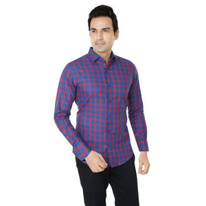 Men Navy Blue Checks Plus Size Casual Shirt - Donzell