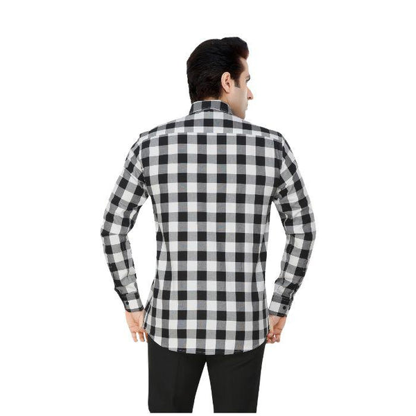Men White & Black Checks Plus Size Formal Shirt - Donzell